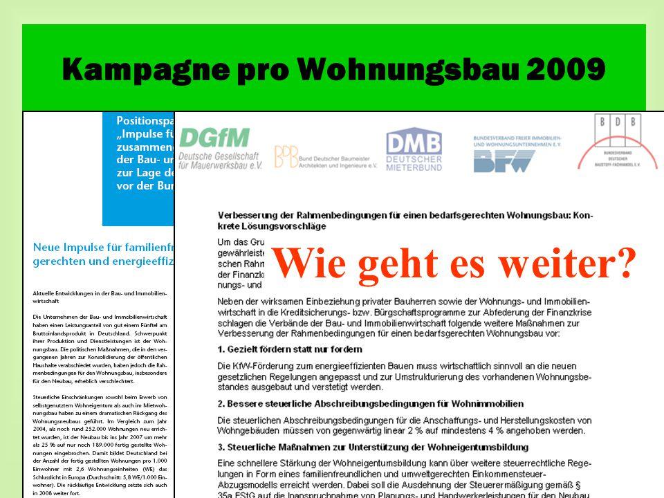 Wie geht es weiter Kampagne pro Wohnungsbau 2009