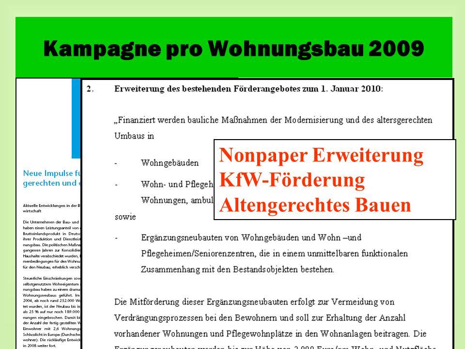 Nonpaper Erweiterung KfW-Förderung Altengerechtes Bauen Kampagne pro Wohnungsbau 2009