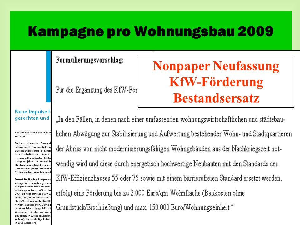 Nonpaper Neufassung KfW-Förderung Bestandsersatz Kampagne pro Wohnungsbau 2009