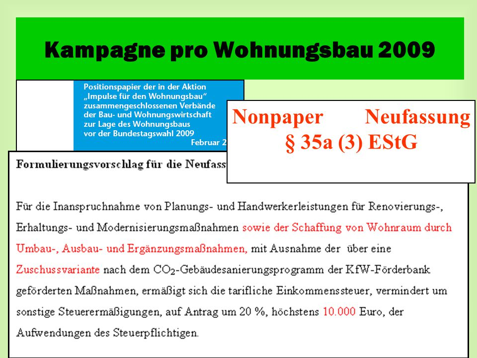 Nonpaper Neufassung § 35a (3) EStG Kampagne pro Wohnungsbau 2009
