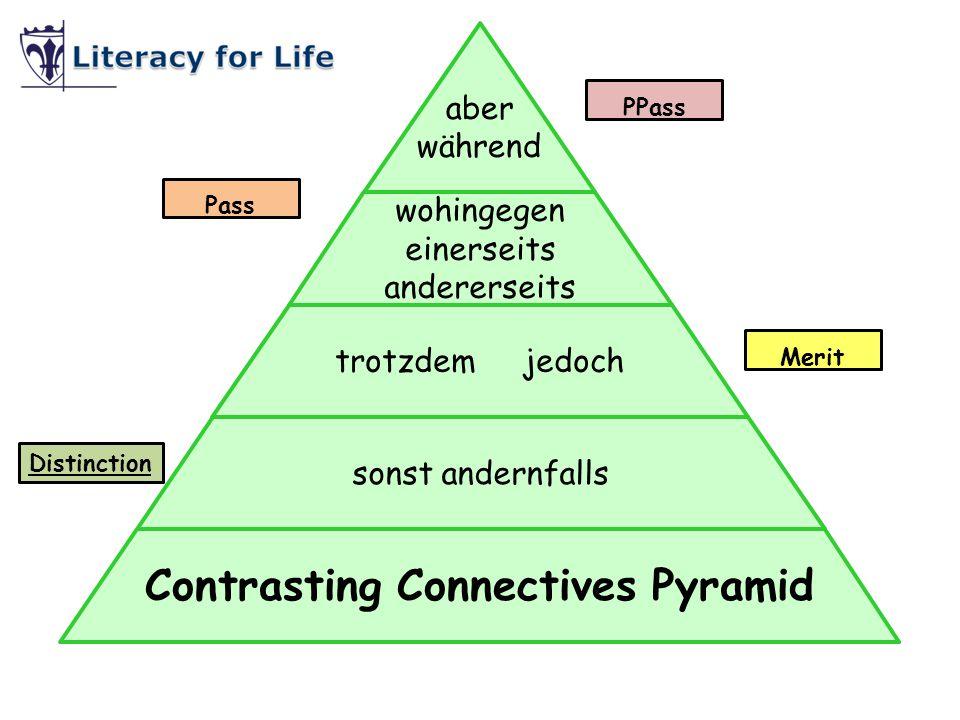 sonst andernfalls trotzdem jedoch wohingegen einerseits andererseits aber während Contrasting Connectives Pyramid Pass Distinction PPass Merit
