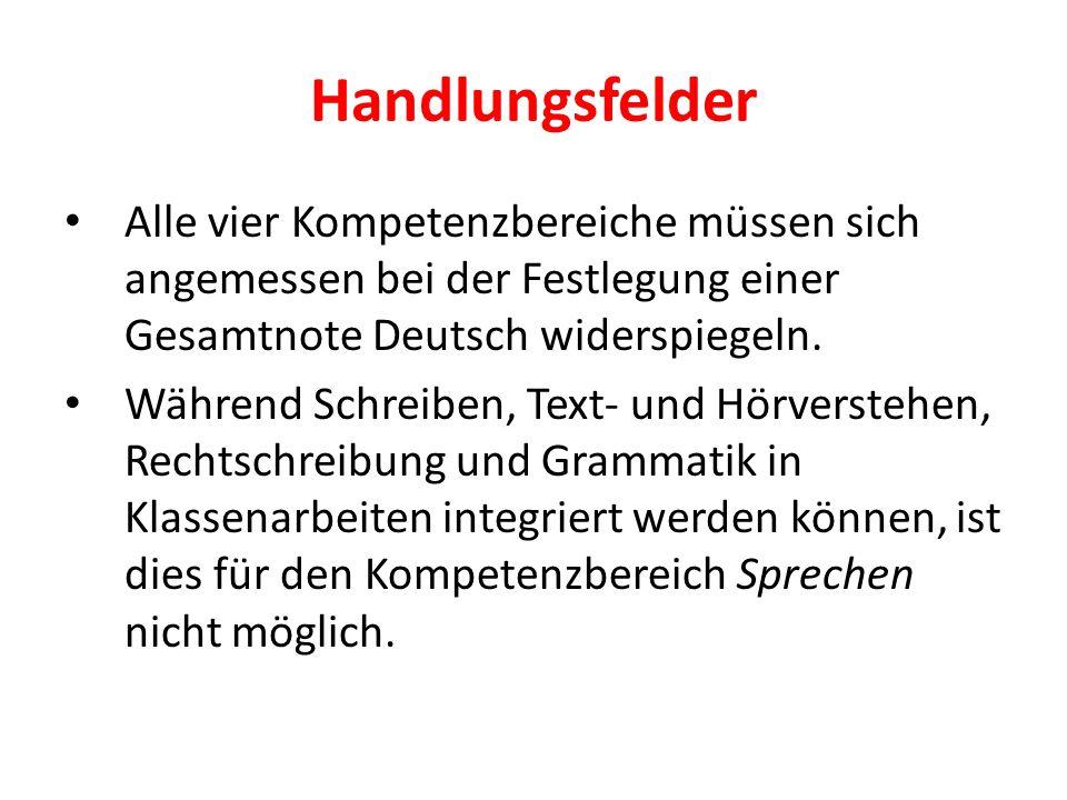 Handlungsfelder Alle vier Kompetenzbereiche müssen sich angemessen bei der Festlegung einer Gesamtnote Deutsch widerspiegeln. Während Schreiben, Text-