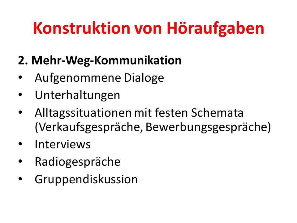 Konstruktion von Höraufgaben 2. Mehr-Weg-Kommunikation Aufgenommene Dialoge Unterhaltungen Alltagssituationen mit festen Schemata (Verkaufsgespräche,