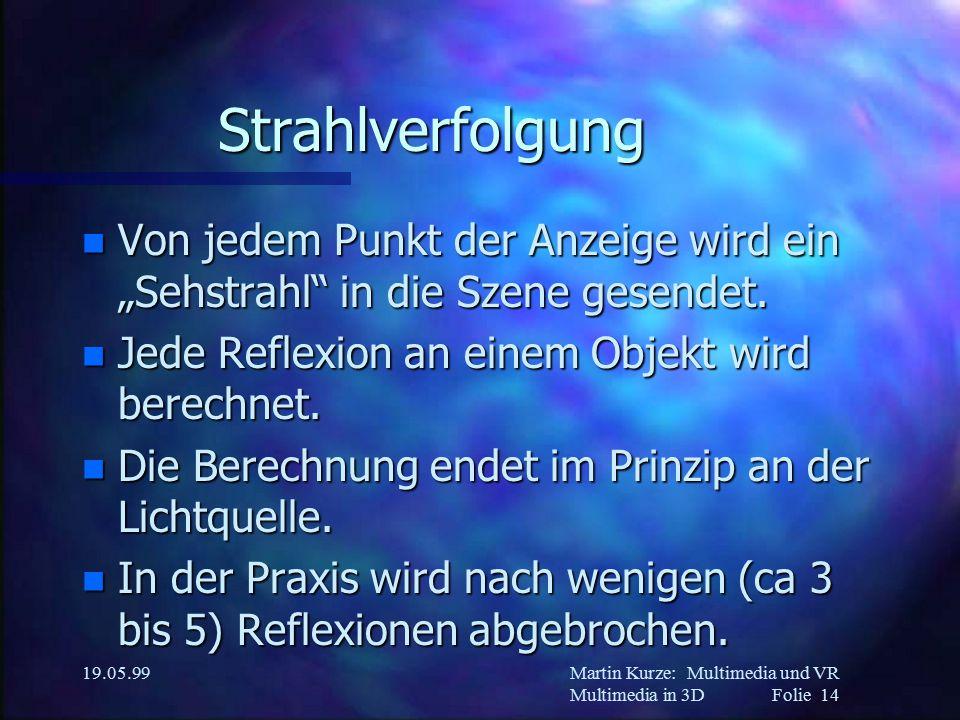 """Martin Kurze:Multimedia und VR Multimedia in 3DFolie 14 19.05.99 Strahlverfolgung n Von jedem Punkt der Anzeige wird ein """"Sehstrahl in die Szene gesendet."""