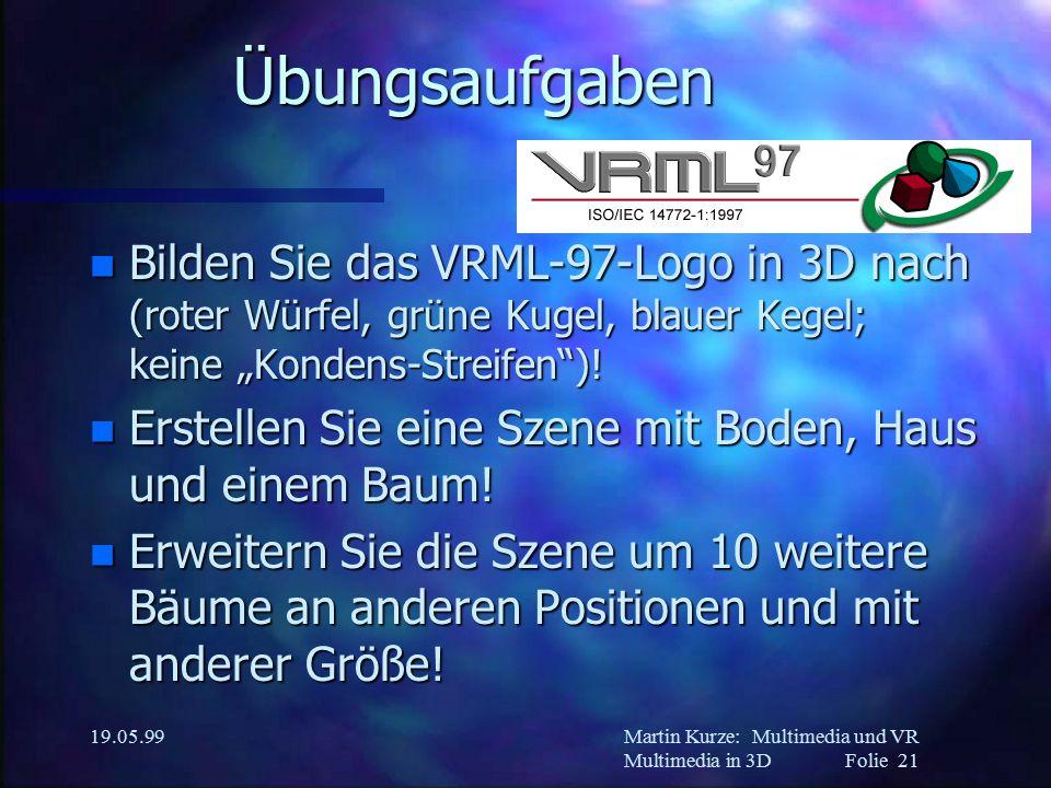 """Martin Kurze:Multimedia und VR Multimedia in 3DFolie 21 19.05.99 Übungsaufgaben n Bilden Sie das VRML-97-Logo in 3D nach (roter Würfel, grüne Kugel, blauer Kegel; keine """"Kondens-Streifen )."""