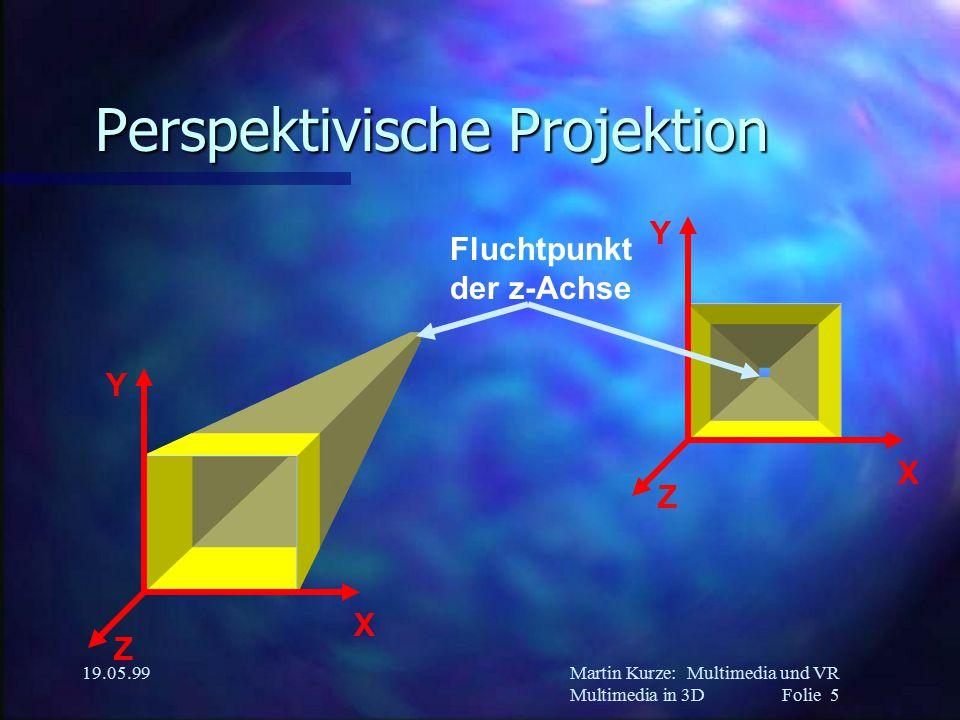 Martin Kurze:Multimedia und VR Multimedia in 3DFolie 5 19.05.99 Perspektivische Projektion Z X Y Z X Y Fluchtpunkt der z-Achse