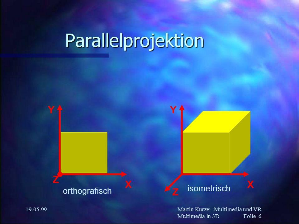 Martin Kurze:Multimedia und VR Multimedia in 3DFolie 6 19.05.99 Parallelprojektion Z X Y Z X Y orthografisch isometrisch