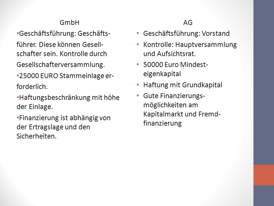 GmbH Geschäftsführung: Geschäfts- führer. Diese können Gesell- schafter sein. Kontrolle durch Gesellschafterversammlung. 25000 EURO Stammeinlage er- f
