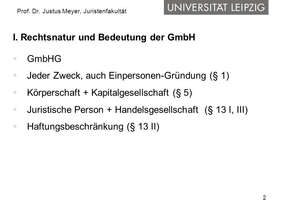2 Prof. Dr. Justus Meyer, Juristenfakultät I. Rechtsnatur und Bedeutung der GmbH  GmbHG  Jeder Zweck, auch Einpersonen-Gründung (§ 1)  Körperschaft