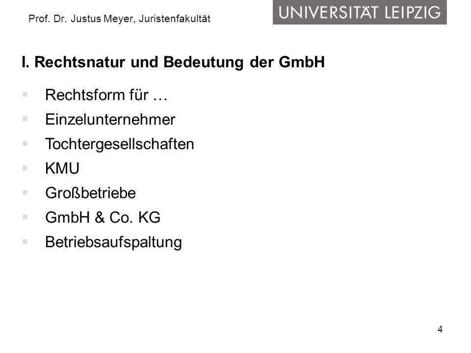 4 Prof. Dr. Justus Meyer, Juristenfakultät I. Rechtsnatur und Bedeutung der GmbH  Rechtsform für …  Einzelunternehmer  Tochtergesellschaften  KMU