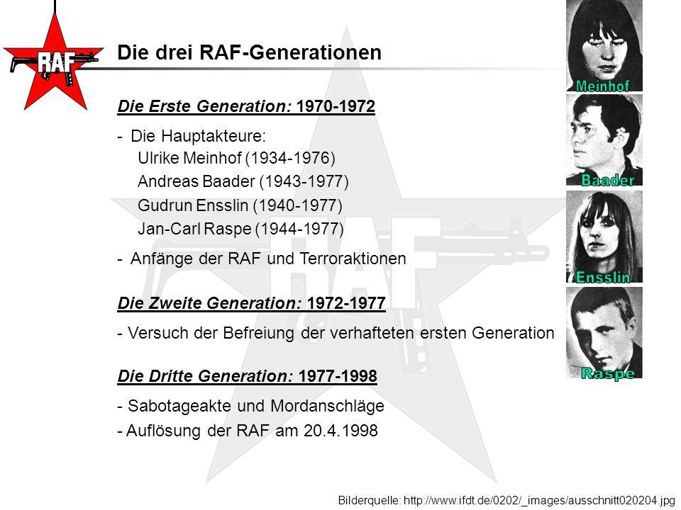 Die Erste Generation: 1970-1972 -Die Hauptakteure: Ulrike Meinhof (1934-1976) Andreas Baader (1943-1977) Gudrun Ensslin (1940-1977) Jan-Carl Raspe (19