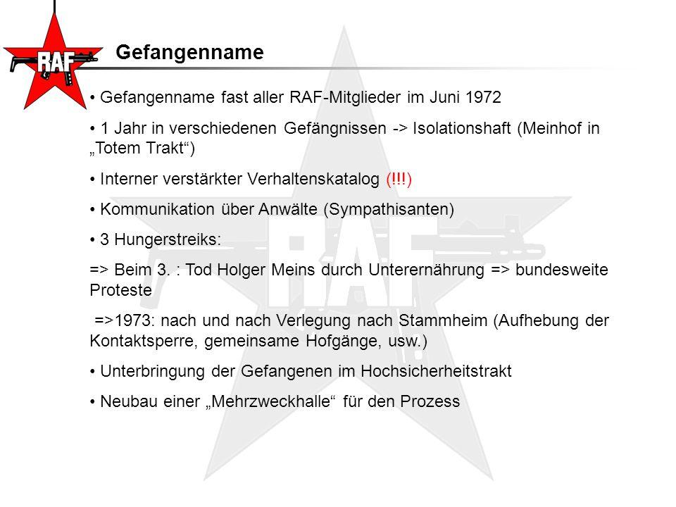 """Gefangenname Gefangenname fast aller RAF-Mitglieder im Juni 1972 1 Jahr in verschiedenen Gefängnissen -> Isolationshaft (Meinhof in """"Totem Trakt"""") Int"""