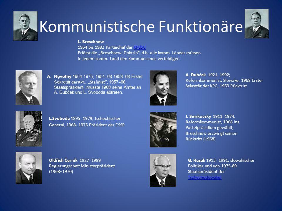 """Kommunistische Funktionäre A.Nọvotný 1904 - 1975; 1951 ‒ 68 1953 ‒ 68 Erster Sekretär der KPC, """" Stalinist"""", 1957 ‒ 68 Staatspräsident, musste 1968 s"""
