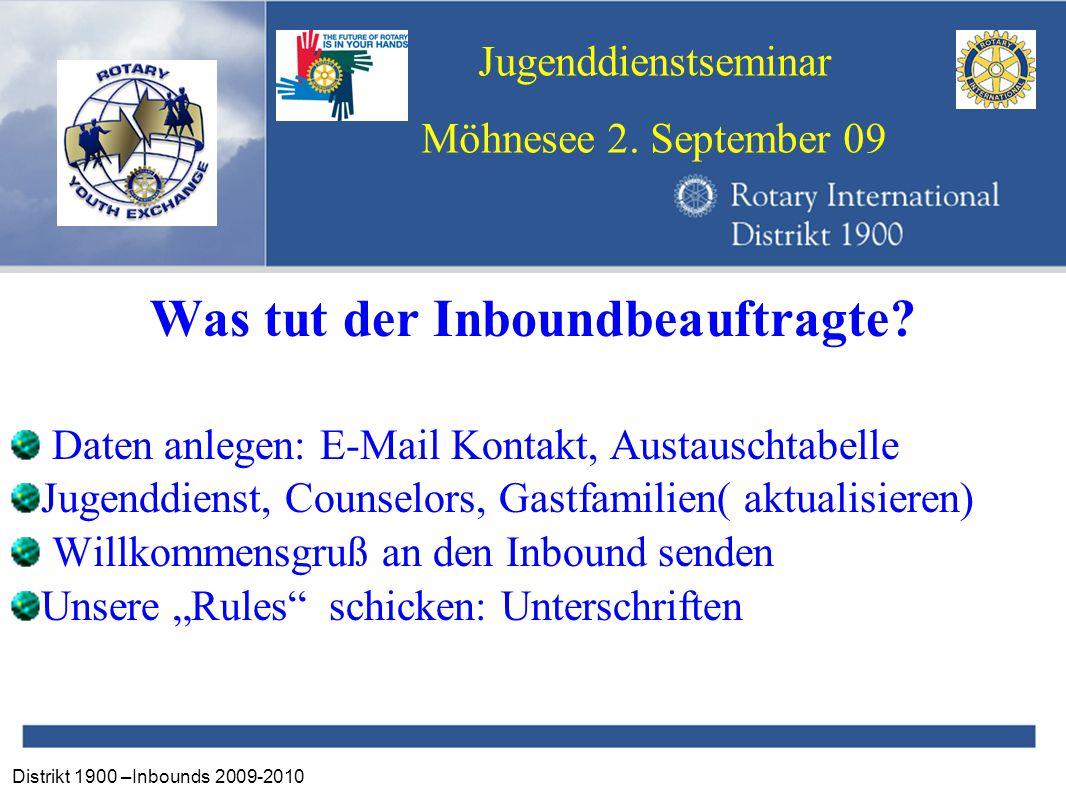 Distrikt 1900 –Inbounds 2009-2010 Jugenddienstseminar Möhnesee 2. September 09 Was tut der Inboundbeauftragte? Daten anlegen: E-Mail Kontakt, Austausc