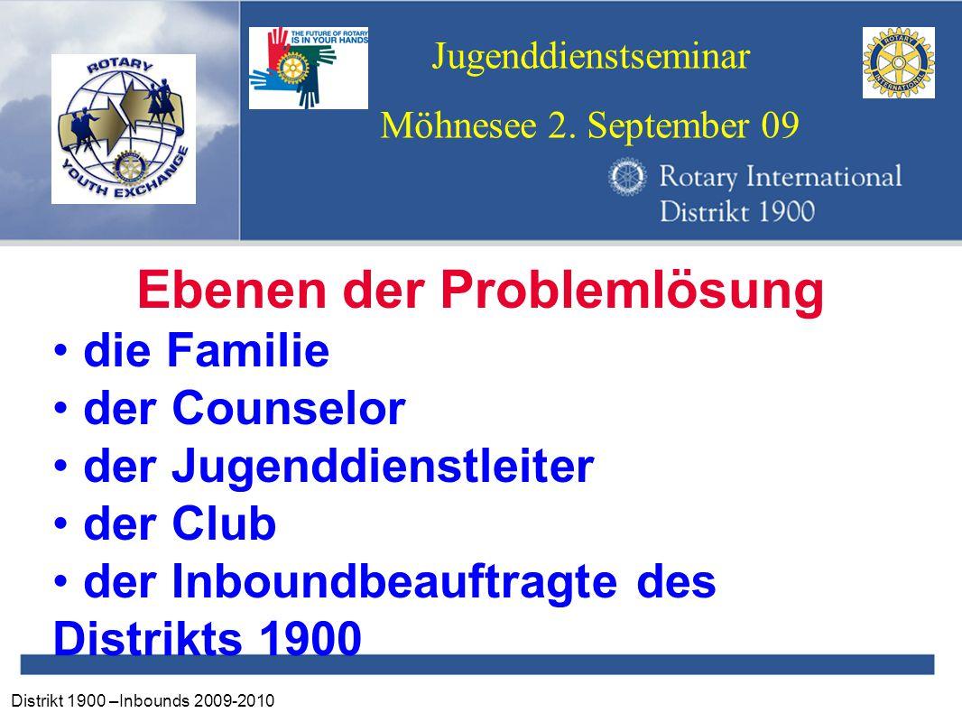 Distrikt 1900 –Inbounds 2009-2010 Jugenddienstseminar Möhnesee 2. September 09 Ebenen der Problemlösung die Familie der Counselor der Jugenddienstleit