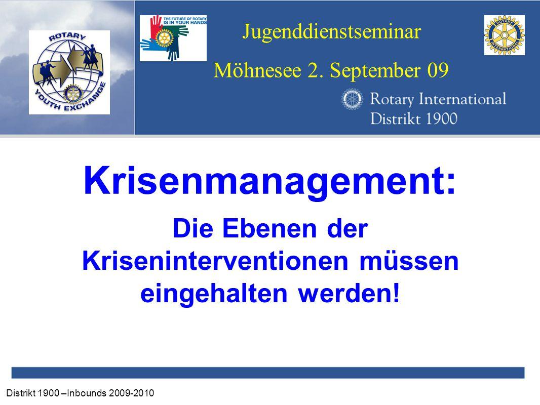 Distrikt 1900 –Inbounds 2009-2010 Jugenddienstseminar Möhnesee 2. September 09 Krisenmanagement: Die Ebenen der Kriseninterventionen müssen eingehalte