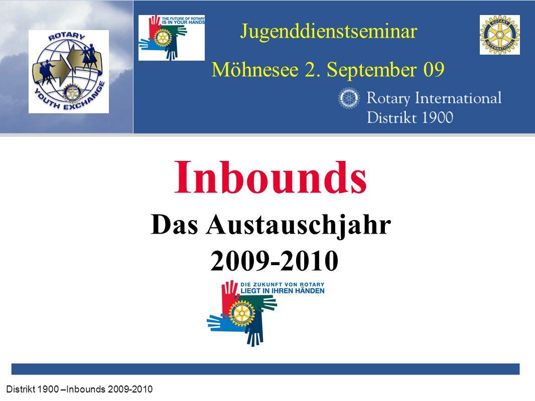 Distrikt 1900 –Inbounds 2009-2010 Jugenddienstseminar Möhnesee 2. September 09 Inbounds Das Austauschjahr 2009-2010