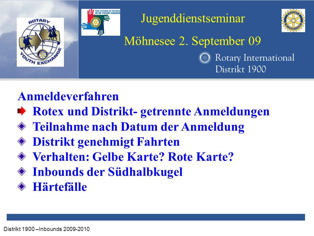 Distrikt 1900 –Inbounds 2009-2010 Jugenddienstseminar Möhnesee 2. September 09 Anmeldeverfahren Rotex und Distrikt- getrennte Anmeldungen Teilnahme na