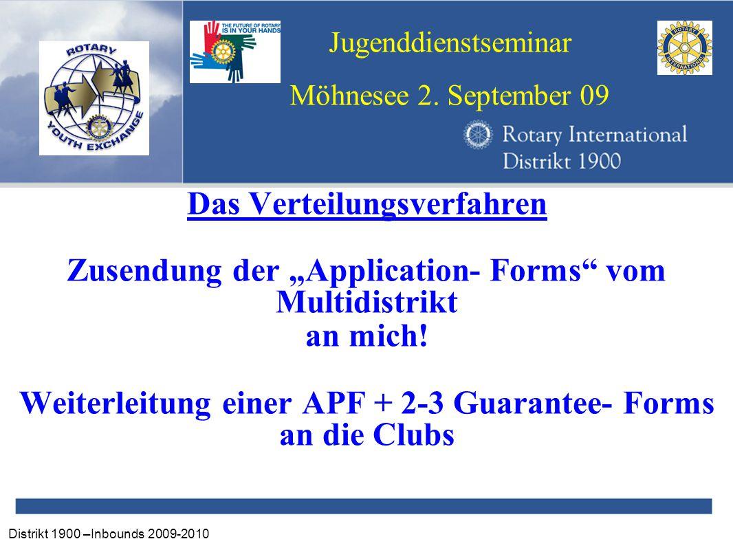 """Distrikt 1900 –Inbounds 2009-2010 Jugenddienstseminar Möhnesee 2. September 09 Das Verteilungsverfahren Zusendung der """"Application- Forms"""" vom Multidi"""