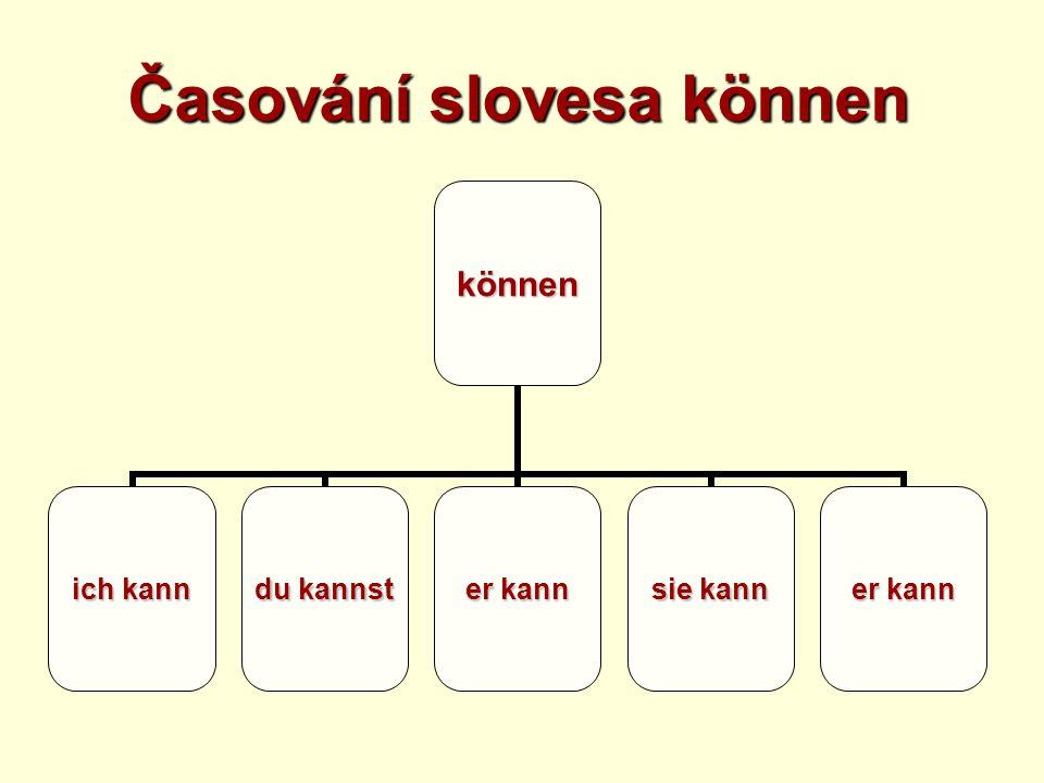 Časování slovesa können können ich kann du kannst er kann sie kann er kann