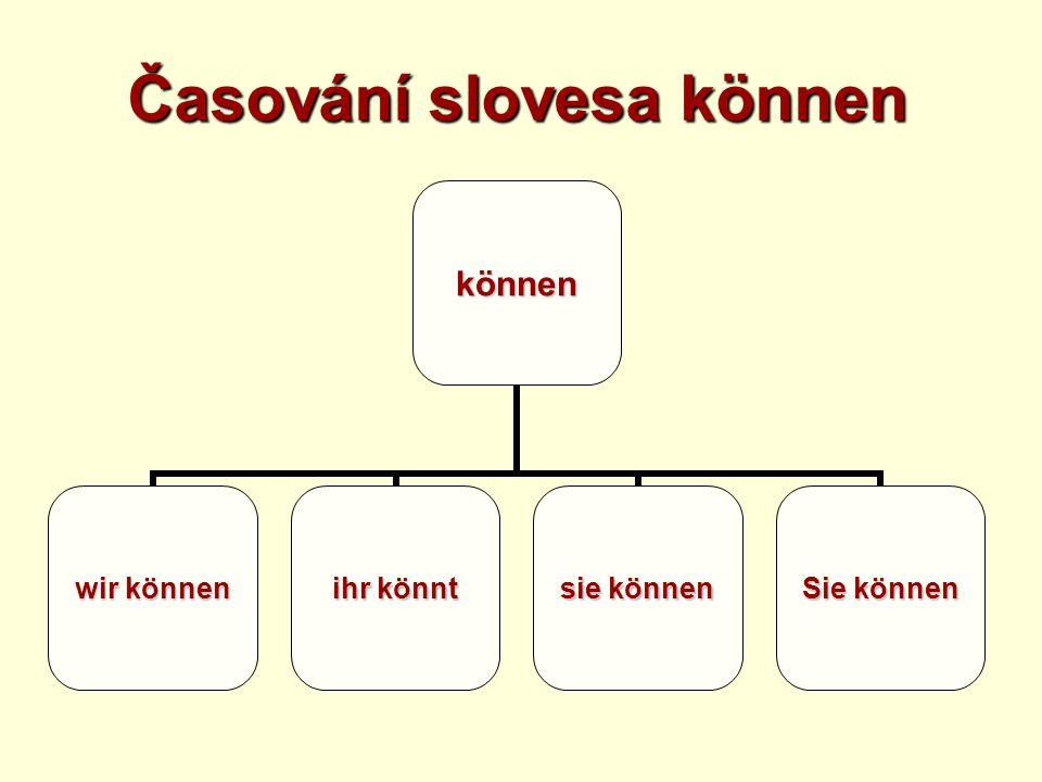 Časování slovesa können können wir können ihr könnt sie können Sie können