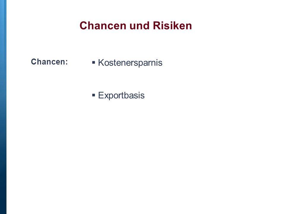 Chancen und Risiken Chancen:  Kostenersparnis  Exportbasis