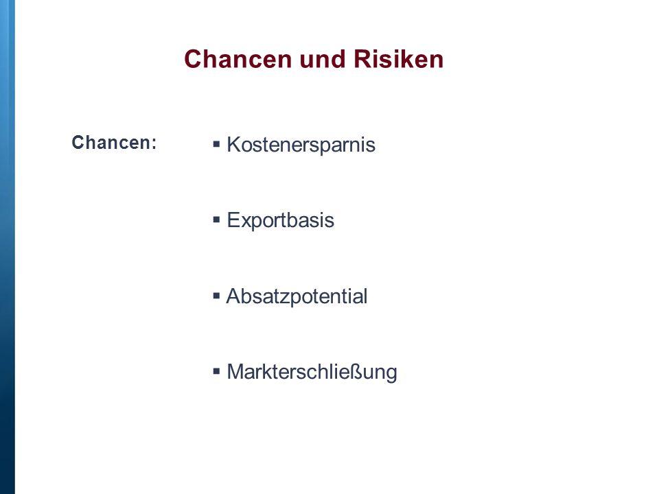 Chancen:  Kostenersparnis  Exportbasis  Absatzpotential  Markterschließung Chancen und Risiken