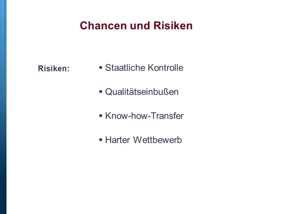 Risiken:  Staatliche Kontrolle  Qualitätseinbußen  Know-how-Transfer  Harter Wettbewerb Chancen und Risiken