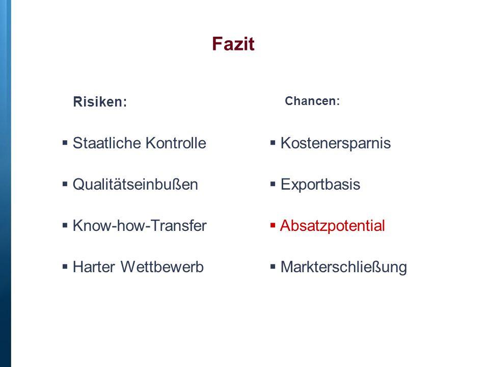 Fazit  Staatliche Kontrolle  Qualitätseinbußen  Know-how-Transfer  Harter Wettbewerb  Kostenersparnis  Exportbasis  Absatzpotential  Markterschließung Chancen: Risiken: