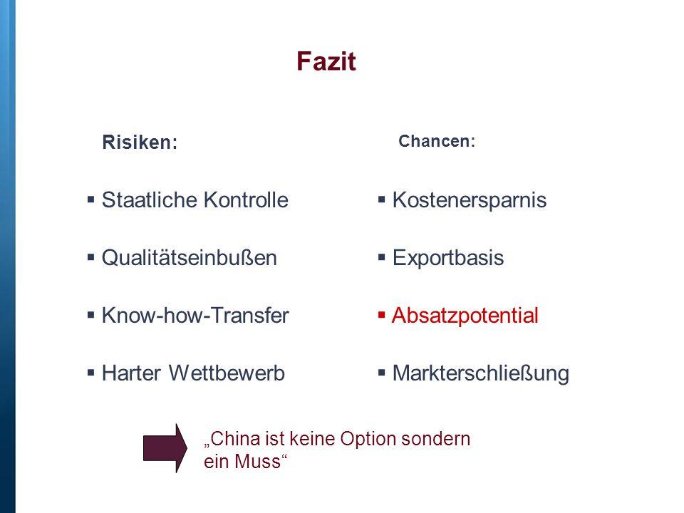 Fazit  Staatliche Kontrolle  Qualitätseinbußen  Know-how-Transfer  Harter Wettbewerb  Kostenersparnis  Exportbasis  Absatzpotential  Marktersc