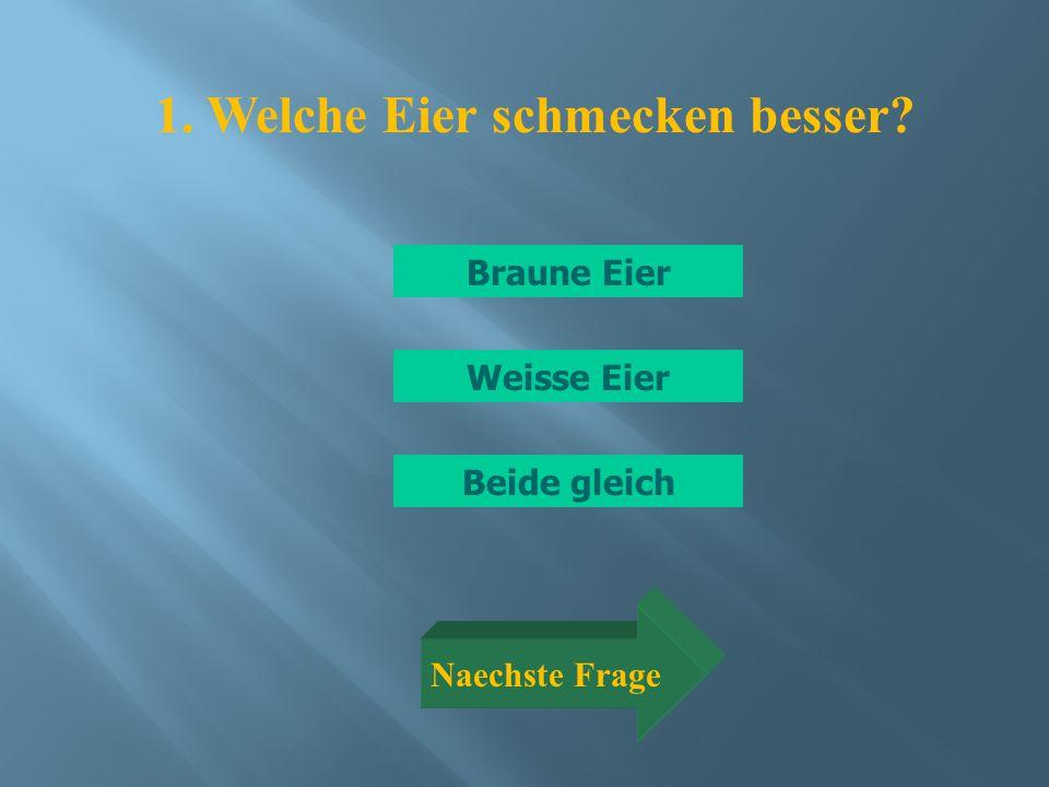 Braune Eier Beide gleich Weisse Eier Naechste Frage 1. Welche Eier schmecken besser?