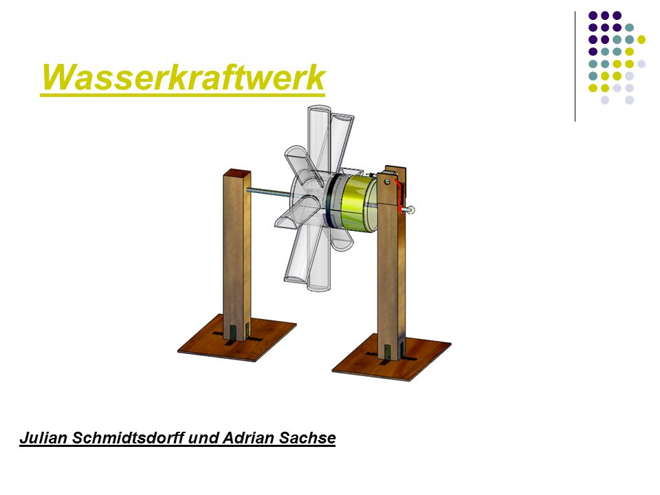  1.Explosionsdarstellung  2. Bauschritte und Maße des Wasserkraftwerks  3.