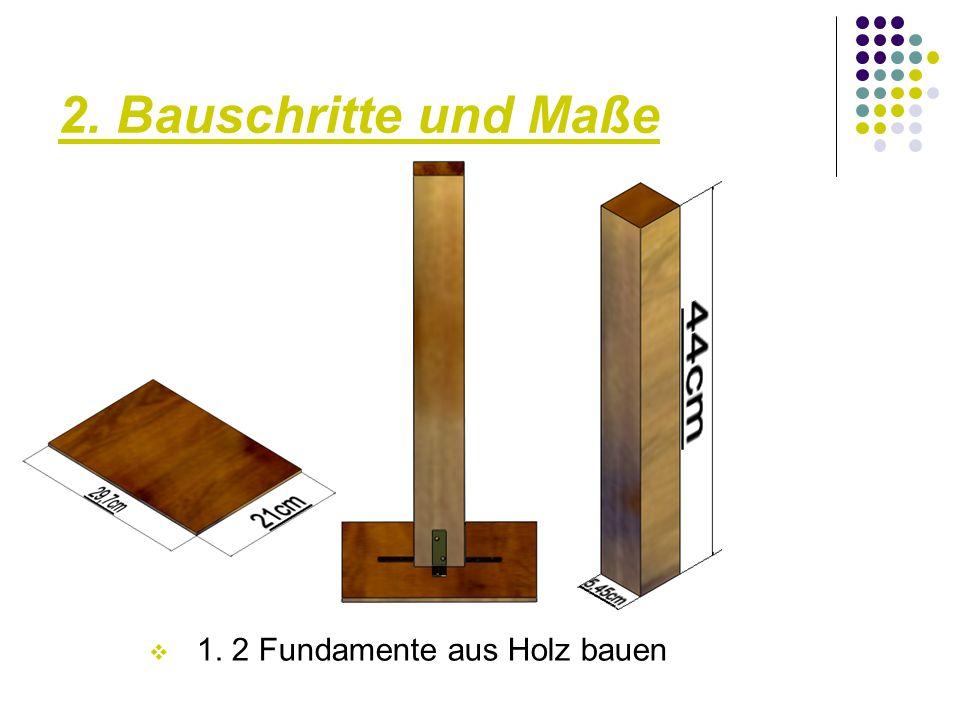 2. Bauschritte und Maße  2. Anbringen des Aluminiumrohres