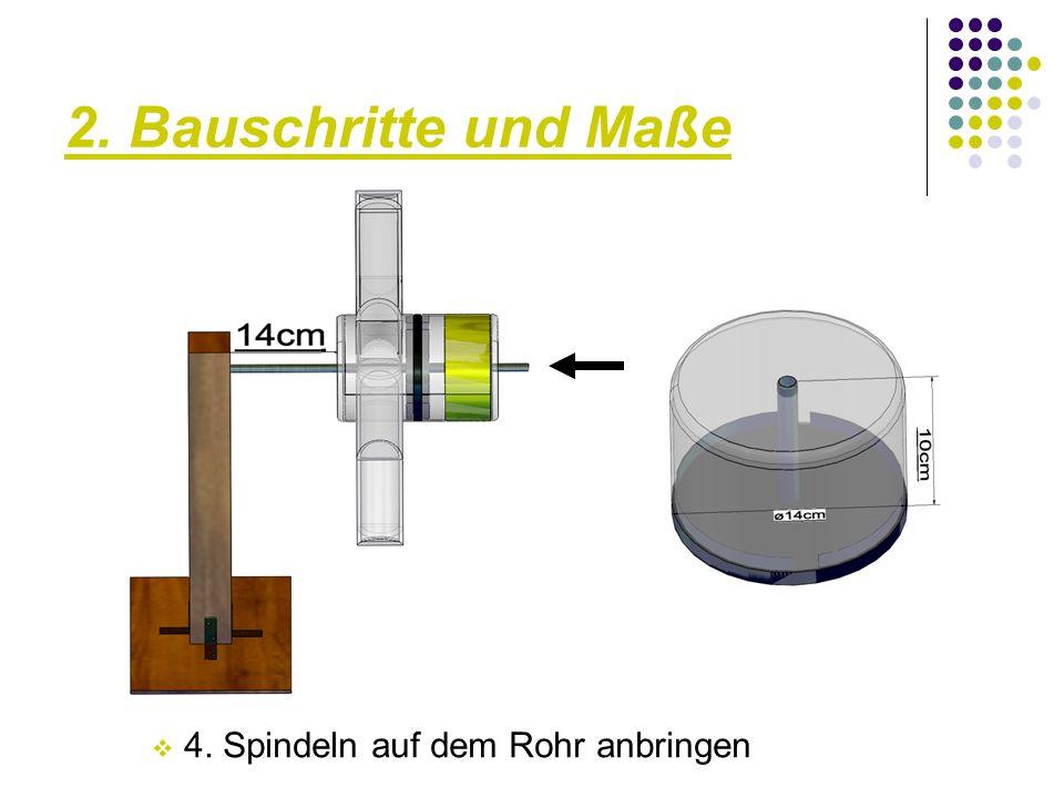 2. Bauschritte und Maße  4. Spindeln auf dem Rohr anbringen