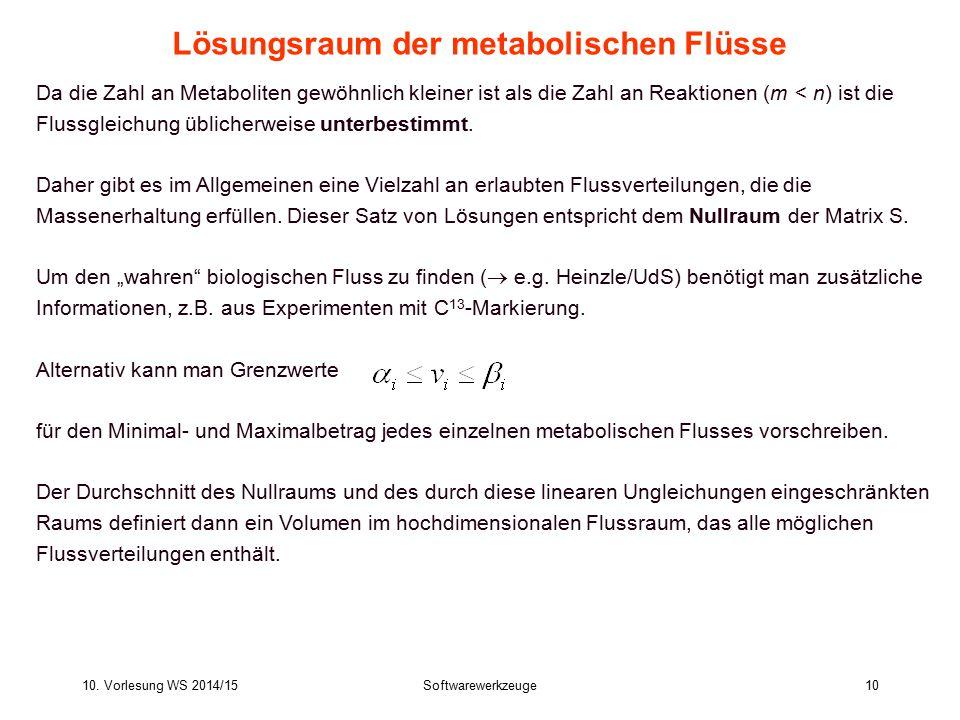 10. Vorlesung WS 2014/15Softwarewerkzeuge10 Lösungsraum der metabolischen Flüsse Da die Zahl an Metaboliten gewöhnlich kleiner ist als die Zahl an Rea