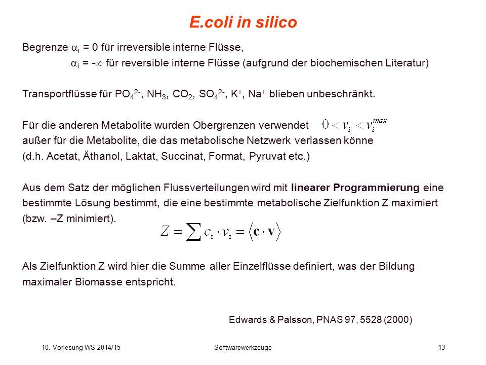 10. Vorlesung WS 2014/15Softwarewerkzeuge13 E.coli in silico Edwards & Palsson, PNAS 97, 5528 (2000) Begrenze  i = 0 für irreversible interne Flüsse,