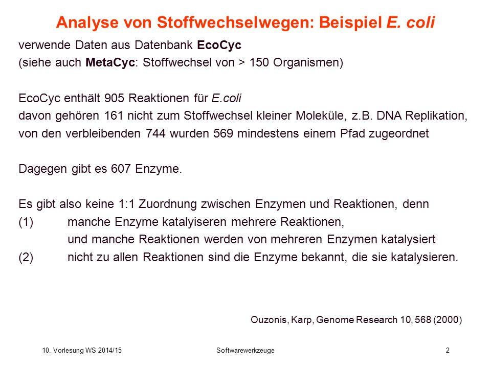 10. Vorlesung WS 2014/15Softwarewerkzeuge2 Analyse von Stoffwechselwegen: Beispiel E. coli verwende Daten aus Datenbank EcoCyc (siehe auch MetaCyc: St