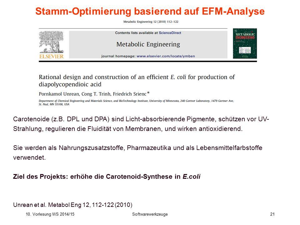 10. Vorlesung WS 2014/15Softwarewerkzeuge21 Stamm-Optimierung basierend auf EFM-Analyse Carotenoide (z.B. DPL und DPA) sind Licht-absorbierende Pigmen