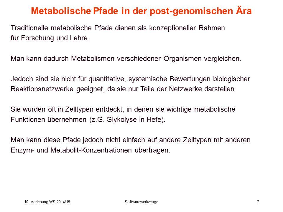 10. Vorlesung WS 2014/15Softwarewerkzeuge7 Metabolische Pfade in der post-genomischen Ära Traditionelle metabolische Pfade dienen als konzeptioneller