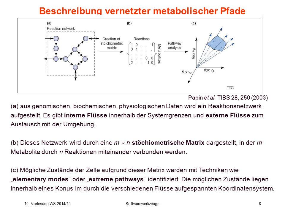 10. Vorlesung WS 2014/15Softwarewerkzeuge8 Beschreibung vernetzter metabolischer Pfade (a) aus genomischen, biochemischen, physiologischen Daten wird