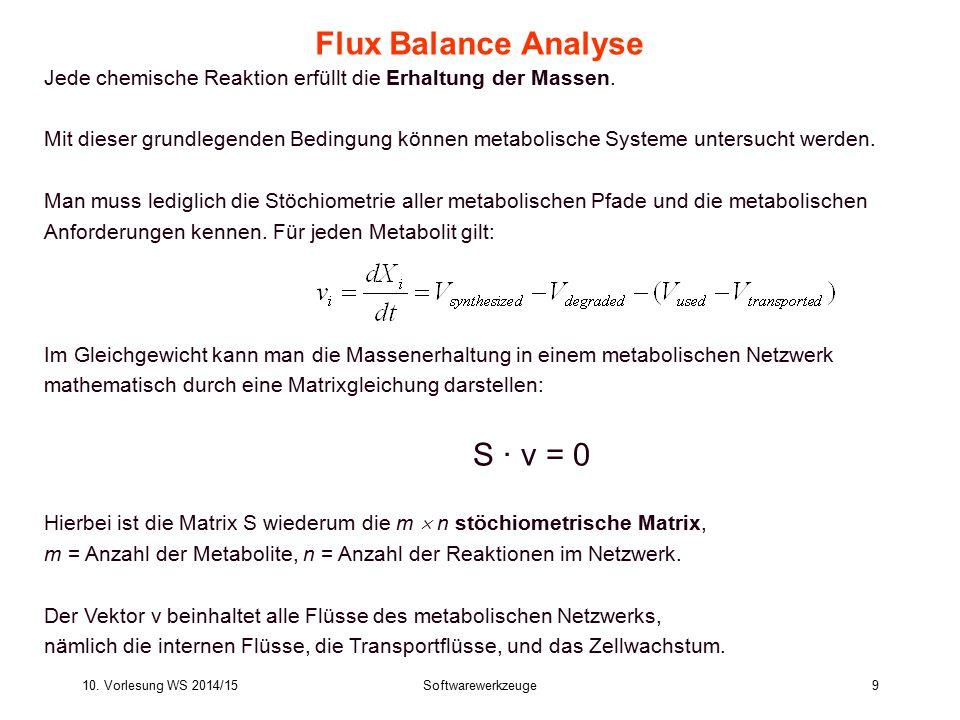 10. Vorlesung WS 2014/15Softwarewerkzeuge9 Flux Balance Analyse Jede chemische Reaktion erfüllt die Erhaltung der Massen. Mit dieser grundlegenden Bed