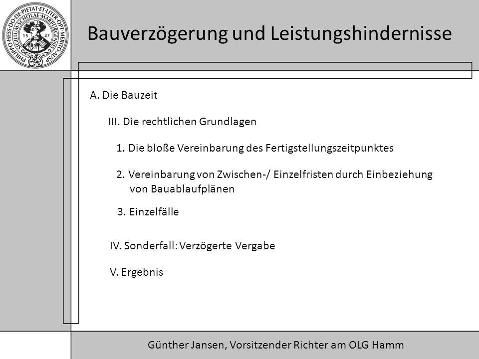 Günther Jansen, Vorsitzender Richter am OLG Hamm Bauverzögerung und Leistungshindernisse A.