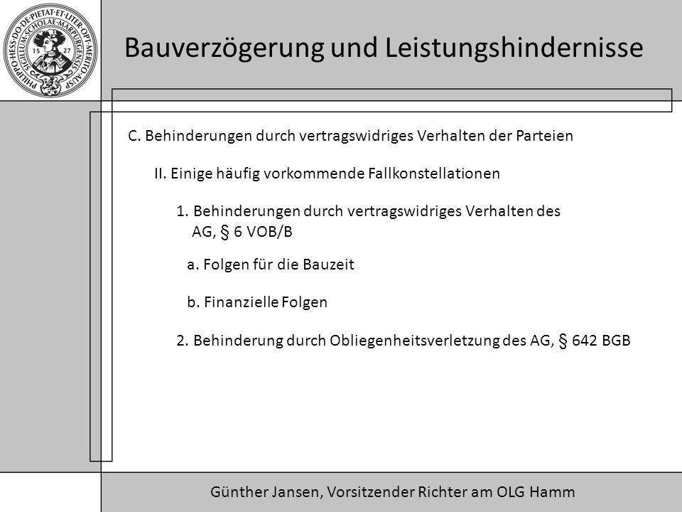 Günther Jansen, Vorsitzender Richter am OLG Hamm Bauverzögerung und Leistungshindernisse C. Behinderungen durch vertragswidriges Verhalten der Parteie