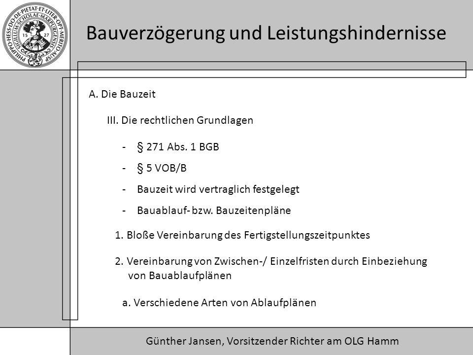 Günther Jansen, Vorsitzender Richter am OLG Hamm Bauverzögerung und Leistungshindernisse A. Die Bauzeit III. Die rechtlichen Grundlagen 1. Bloße Verei