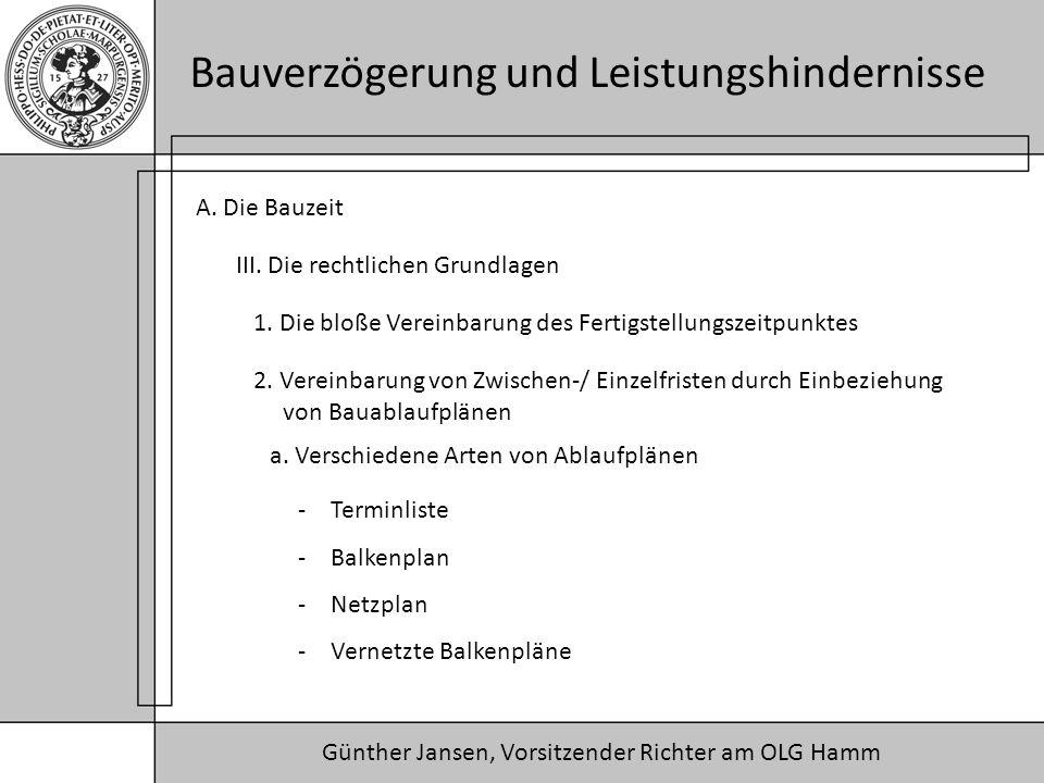 Günther Jansen, Vorsitzender Richter am OLG Hamm Bauverzögerung und Leistungshindernisse A. Die Bauzeit III. Die rechtlichen Grundlagen 1. Die bloße V