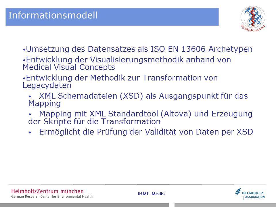 IBMI - Medis Informationsmodell  Umsetzung des Datensatzes als ISO EN 13606 Archetypen  Entwicklung der Visualisierungsmethodik anhand von Medical Visual Concepts  Entwicklung der Methodik zur Transformation von Legacydaten  XML Schemadateien (XSD) als Ausgangspunkt für das Mapping  Mapping mit XML Standardtool (Altova) und Erzeugung der Skripte für die Transformation  Ermöglicht die Prüfung der Validität von Daten per XSD