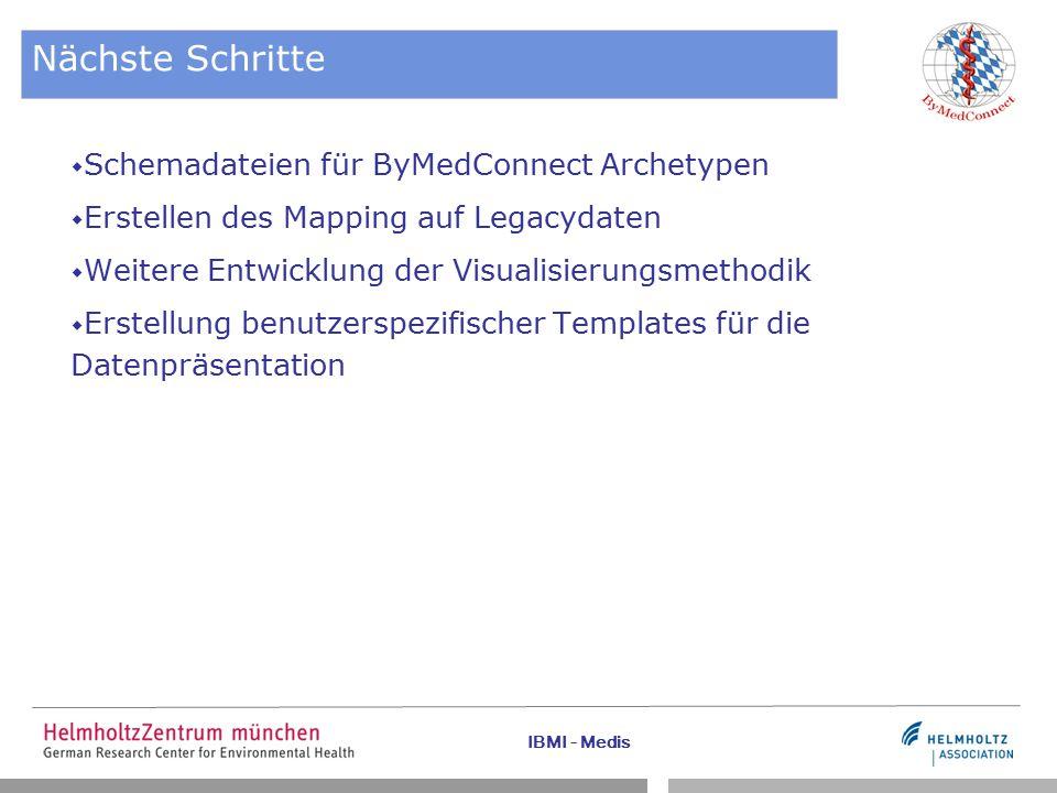 IBMI - Medis Nächste Schritte  Schemadateien für ByMedConnect Archetypen  Erstellen des Mapping auf Legacydaten  Weitere Entwicklung der Visualisierungsmethodik  Erstellung benutzerspezifischer Templates für die Datenpräsentation