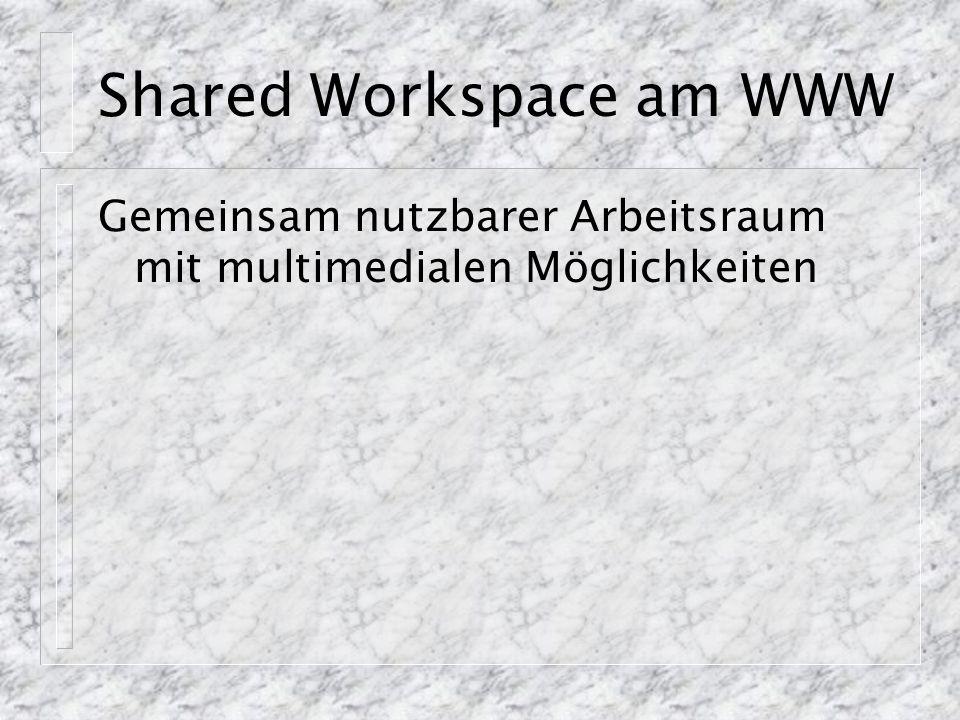 Shared Workspace am WWW Gemeinsam nutzbarer Arbeitsraum mit multimedialen Möglichkeiten