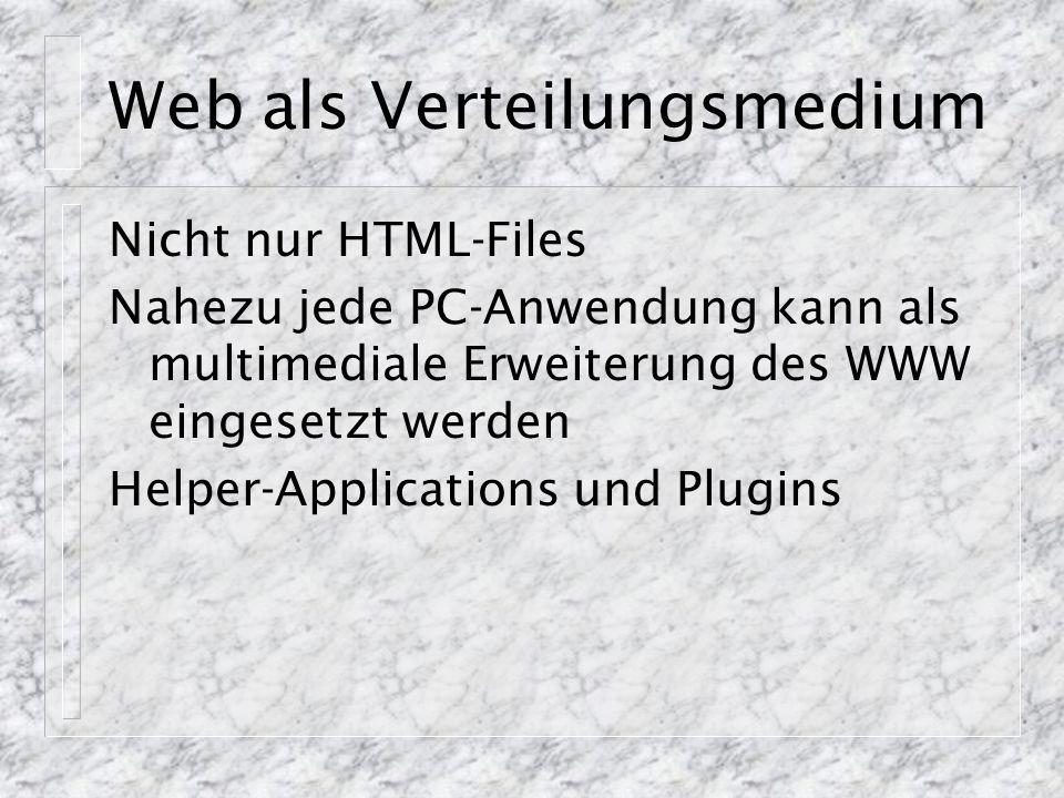 Web als Verteilungsmedium Nicht nur HTML-Files Nahezu jede PC-Anwendung kann als multimediale Erweiterung des WWW eingesetzt werden Helper-Application