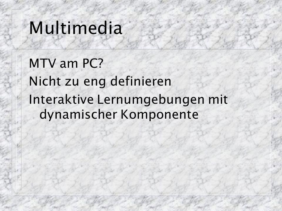 Multimedia MTV am PC? Nicht zu eng definieren Interaktive Lernumgebungen mit dynamischer Komponente
